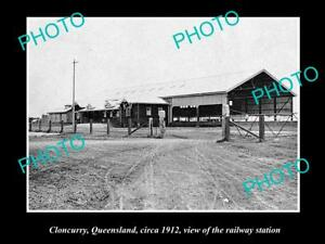 OLD-LARGE-HISTORIC-PHOTO-OF-CLONCURRY-QLD-VIEW-OF-THE-RAILWAY-STATION-c1912
