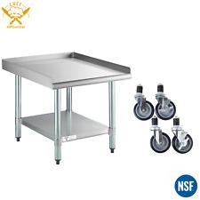 30 X 24 Stainless Equipment Stand Undershelf Galvanized Legs With Caster Wheels