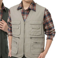Man Outdoor Vest Shooting /Hunting /Fishing  Waistcoat  Multi Pocket Zip Coat