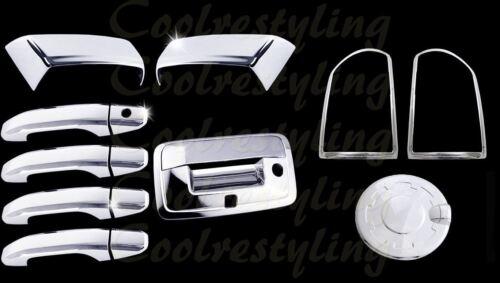 For 2014-2017 GMC Sierra Chrome Mirror Door Tailgate Gas Tail Light Cover