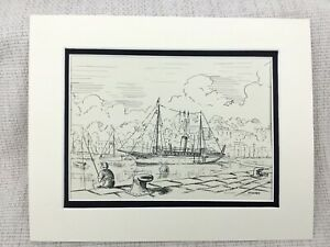 Original Ink Drawing Sketch Yacht Cruiser Boat MY Mhoire Torquay Harbour Signed