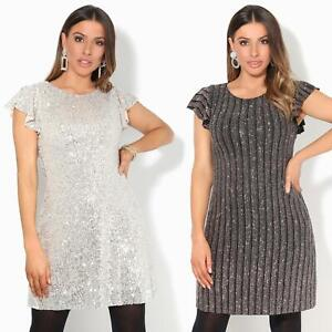 Womens-Ladies-Sequin-Glitter-Dress-Party-Ruffle-Sleeve-Evening-Lurex-Tunic-Top