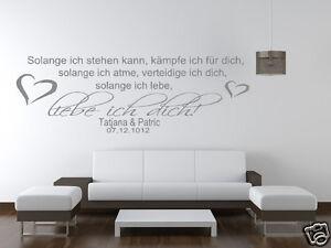 Details zu Wandtattoo Wohnzimmer Schlafzimmer Spruch so lange liebe ich  dich mit Name pk31