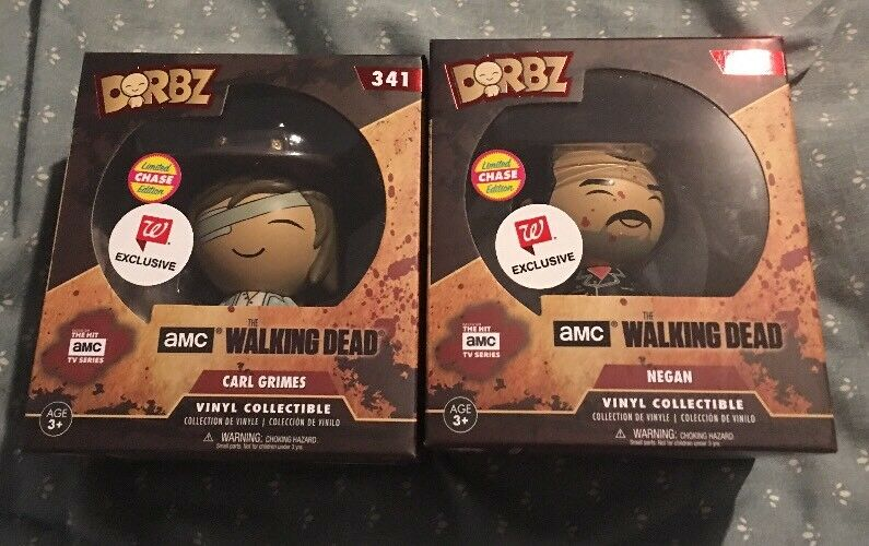 FUNKO POP DORBZ THE WALKING DEAD CARL GRIMES & NEGAN CHASE VARIANT VARIATION LOT