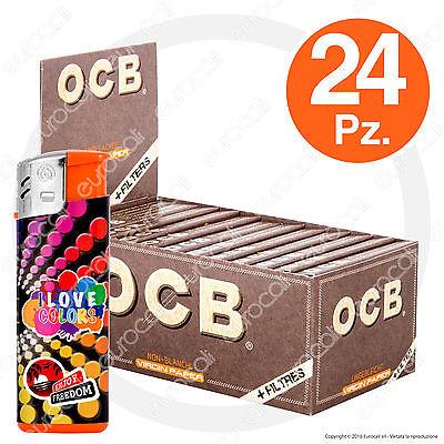 1200 Cartine e 1200 Filtri in Carta OCB Virgin Paper Unbleached Corte 1¼ 24pz