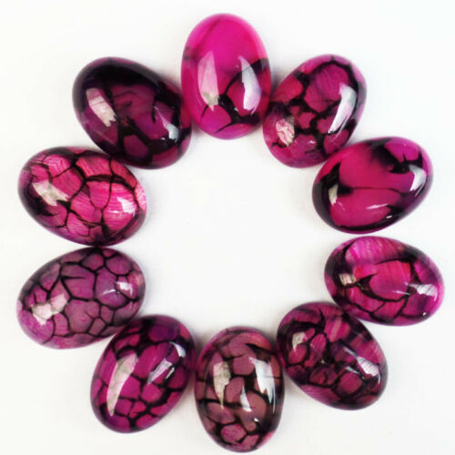 10pcs Wholesale Natural purple Dragon veins Agate OVal CAB Cabochon 25x18x6mm