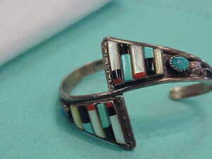 ZUNI-SIGNED-STERLING-SILVER-TURQUOISE-CORAL-ONYX-INLAY-CUFF-BRACELET
