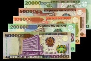 Mozambique-SET-5-Pcs-1993-2003-20000-50000-100000-200000-500000-Meticais-Unc