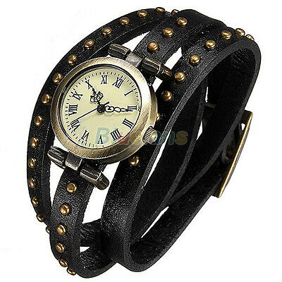 Lady BRONZE DIAL FUNKY RIVET LEATHER QUARTZ ANALOG WRIST WATCH BRACELET NW BJ3K