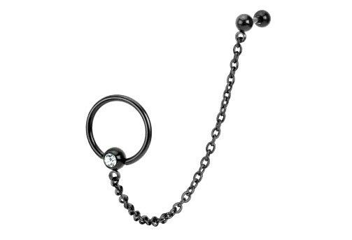 BLACK Chain Linked Bead Ring TRAGUS CARTILAGE Stud Ear Rings Piercing Jewelry