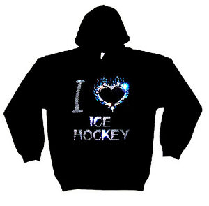tailles avec épais Sweat Love Hockeytoutes capuche à les en motif en cristal I cristal bgY6f7yv