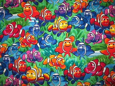 BonEful Fabric FQ Cotton Quilt Blue Orange White Disney NEMO DORI Dot Clown FISH