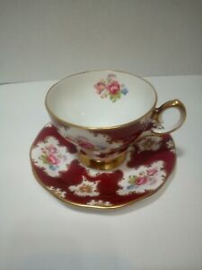 Queen-Anne-Lady-Eleanor-Floral-footed-Tea-Cup-And-Saucer-Bone-China-England