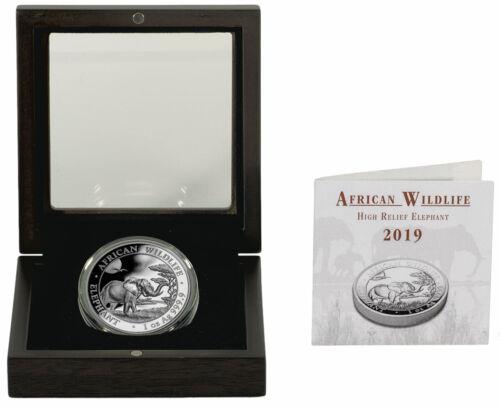 2019 Somalia 1 oz High Relief Silver Elephant Sh100 Coin GEM Proof OGP SKU55173