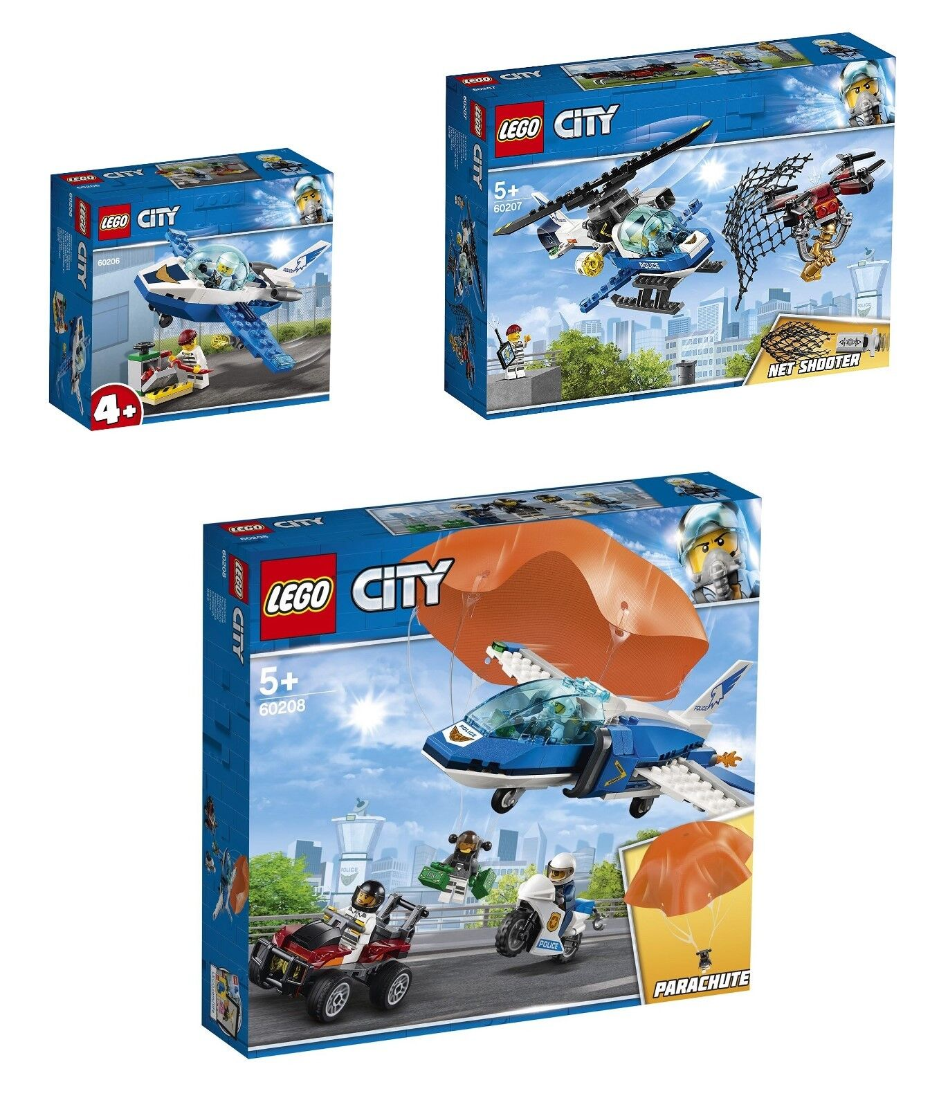 LEGO® City 60206 + 60207 und 60208 CITY 3-ER SET Polizei Sets NEU & OVP