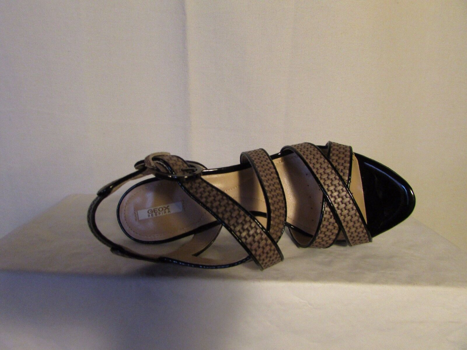 Sandalen geschmückt GEOX Leder taupe taupe taupe imitation Weberei und Leder schwarz 38 f8215e