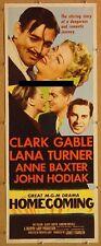 HOMECOMING, 1948, Clark Gable, Lana Turner, scarce US INSERT POSTER UNFOLDED  *