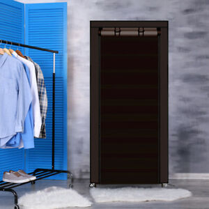 Levede 10 Tier Shoe Rack Portable Storage Cabinet Organiser Wardrobe Brown Cover