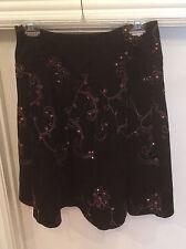 NWT Tribal Black Corduroy w/ Pink EMBROIDERY Skirt Womens 4