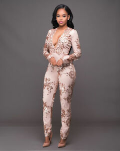 e2fac7390481 Sexy Long Sleeve Sequin Bodycon Jumpsuit Party Rompers Long Trousers ...