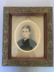 Antique-Victorian-Gilded-Ornate-Floral-Frame-w-Original-Portrait-Glass-Stunning