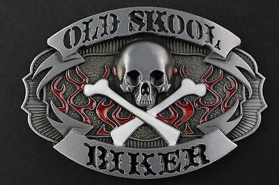 OLD SCHOOL BIKER  GREY BELT BUCKLE METAL
