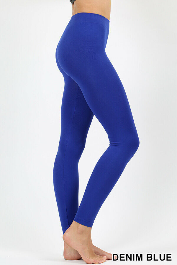 Zenana Long Nylon Leggings Seamless Full Length Spandex Stretch Soft High Rise      eBay