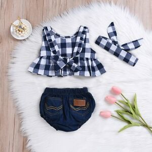 b3f63a301 Image is loading Toddler-Kids-Baby-Girls-Outfit-Birthday-Ruffle-Plaid-