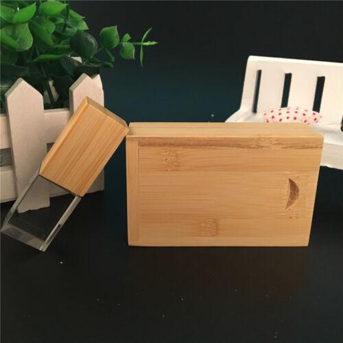 Bamboo Wooden Crystal USB 2.0 Flash Drive Custom USB 3D Logo Photography Wedding