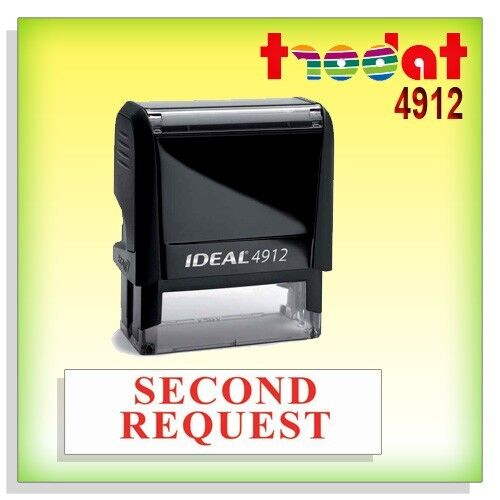 office Stock Self Inking Rubber Stamp RED TRODAT 4912 SECOND REQUEST Ideal 80