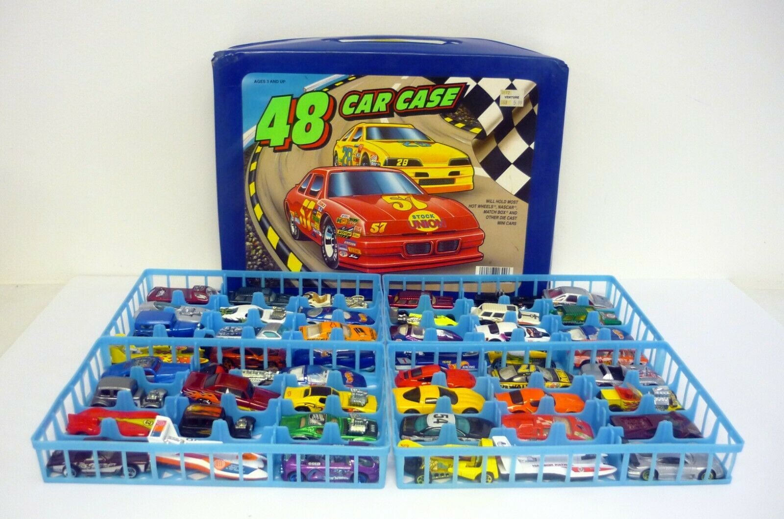 48 CAR CASE Tara Toys Holds Hot Hot Hot Wheels, Nascar, Match Box & other Die-Cast Cars 5ee347