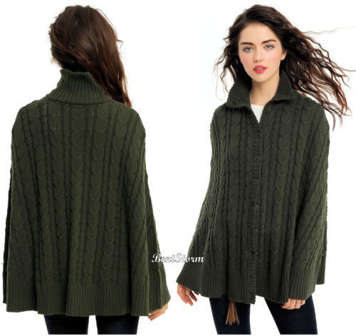 Outlander Claire Fraser Sweater Cape Cable Knit Dark Green Juniors S/M Or L/Xl by Hot Topic/Outlander