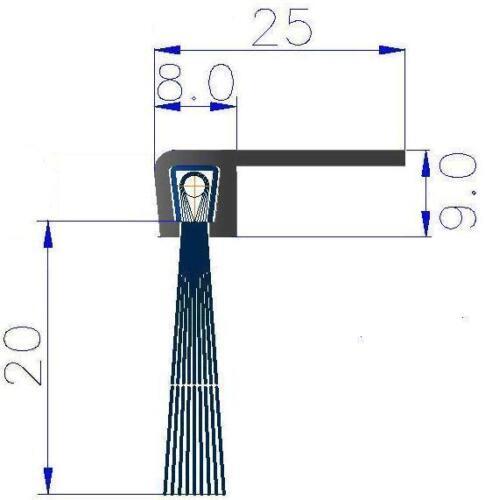 1 m Streifenbürste 90° Winkel 20mm Bürstendichtung Türbürste Torbürste Türbesen
