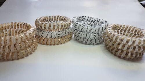 GRANDE SPIRALE élastique de cheveux élastique Imprimé Animal Cheveux Bandes Extensible Queue de Cheval 3pk x 5 cm