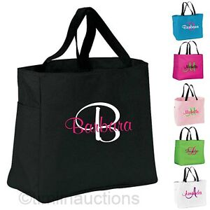 Image Is Loading 3 Personalized Monogrammed Embroidered Tote Bridesmaid Gift Bags