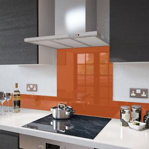 Orange - Toughened Glass Splashback - 70cm Wide x 75cm High