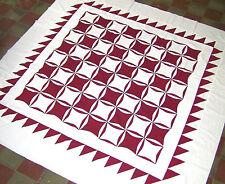 Graphic Handmade Patchwork -- Red  & White Orange Peel quilt  - (QUILT TOP