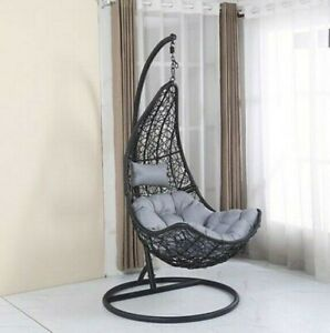 Rattan Swing Patio Garden Weave Hanging Half Egg Chair ...