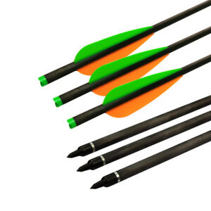 12X 20 Inch Carbon Arrows OD 8.8MM  Vanes Fixed Nocks Archery for Crossbow Bolts