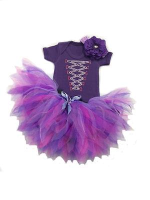 Rapunzel Fancy Dress Costume Sparkle Bling Baby Neon Tutu Set Toddler Girls Kids