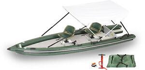 Sea-Eagle-FSK16-2-Person-Swivel-Seat-Canopy-Pkg-Fish-Skiff-Inflatable-Boat-BO