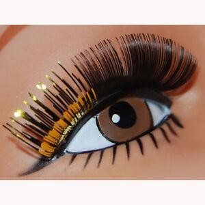 58ef6f97774 Two Tone Black w/ Gold Long Eyelashes False Eye Lash Womens Beauty ...