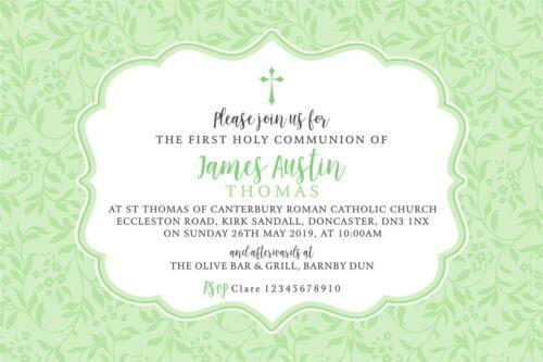Personnalisé Première Sainte Communion Invitations X 5