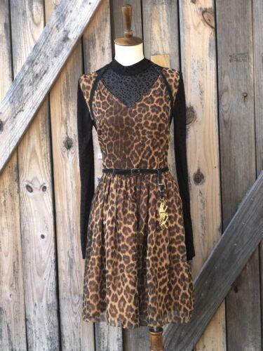 Cheetah Pinup Rockabilly Swing Dres Fit N Flare Sm