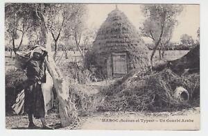 Marokko-1920-AK-034-Eine-arabische-Unterkunft-034-Un-Gourbi-Arabe