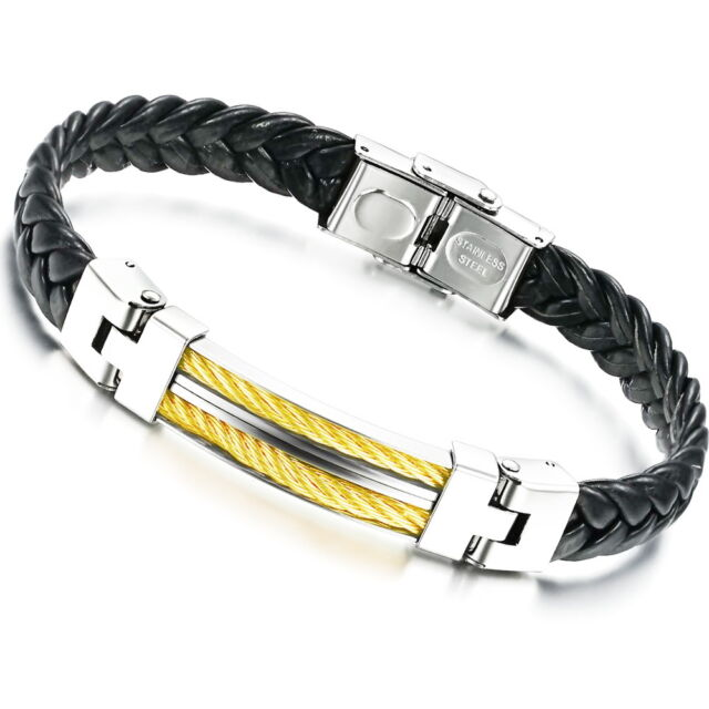 "Men's Unisex Stainless Steel Black PU Leather Bracelet 8"" G12"