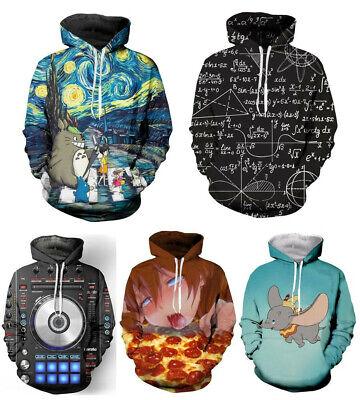 Anime Ahegao Eat Pizza Emoji 3D Print Men//Women Hoodie Sweatshirt Pullover Tops