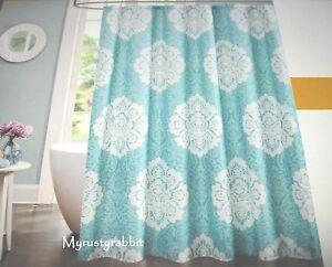 "Aqua Medallion Fabric Shower Curtain 70"" x 71"" - Tanya Design Lab NEW"