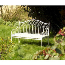 Exceptionnel Gardman Heart Backed Metal Folding Garden Bench In Cream ...