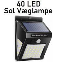 Væglampe, NY! Sol 40LED Væglampe Lyssensor